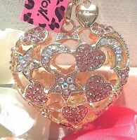 Betsey Johnson Inlaid With Crystals Hollow Stars And Hearts Pendant Necklace