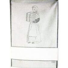 """torchon à broder point de croix DMC imprimé """"lingère"""" gris - neuf"""