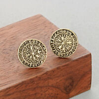 Punk Runes Compass Earrings Vintage Scandinavian Antique Slavic Viking Jewelry