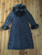 SHIFNJI LADIES TWO TONE BLUE LONG FUR CUFF/HOOD COAT - XL