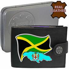 JAMAICA Klassek Mens Leather Wallet JAMAICAN Flag map and Emblem gift Metal Box