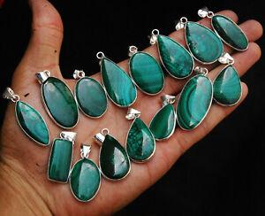 New Pcs Lot Natural AAA Green MALACHITE Gemstone 925 Silver Plated Bezel Pendant