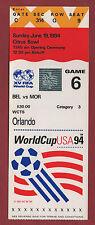 Original Ticket     WM   USA 1994     BELGIEN - MAROKKO  //  Spiel 6  !!  SELTEN