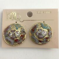 Cloisonne Enamel Clip On Earrings Floral Round Gold Tone Pink New