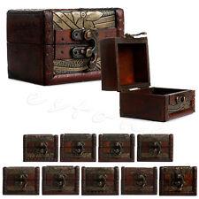 Small Vintage Wooden Lock Jewelry Holder Storage Necklace Bracelet Gift Box Case