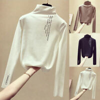 Women Pullover Top Long Sleeve Turtle Neck Shirts Blouse Solid Casual Slim S-2XL