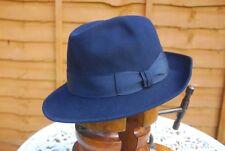 Blue Fur Felt Panizza Fedora Trilby Hat Eu 59 UK 71/4 US 73/8