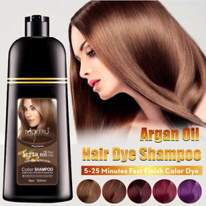 Mokeru Long Lasting Instant Hair Coloring Shampoo Argan Oil Essence Wine Red Dye