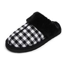 Minnetonka Chesney Scuff Womens Black Plaid Suede w/ Rubber Sole Slippers 7 M US