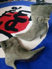 Green Suede Ankle Boots Used