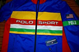 NWT $228 RALPH LAUREN POLO SPORT USA Flag Men's Full Zip Windbreaker Jacket MD