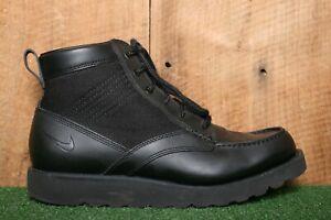 NIKE ACG 'Kingman' Black Leather & Canvas Lightweight Hiking Boots Men's Sz. 8.5