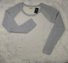 HOLLISTER Womens Large Cable Knit Sweater Crew Neck Long Sleeve Soft Gray