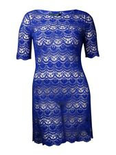 Lauren Ralph Lauren Women's Crochet Lace Boat Neck Dress (L, Sporting Blue)