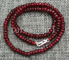 """New 2x4mm Faceted Red Garnet Ruby Handmade Gemstone necklace 18"""" Silver clasps"""
