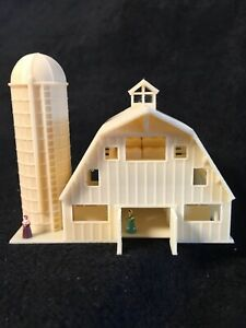 GoldRushBay N-Scale Miniature Old West8 Wood Color Barn+Silo Built w/Interiors