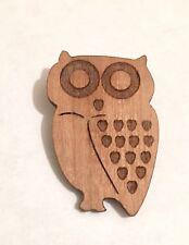 Handmade Wooden Owl Brooch