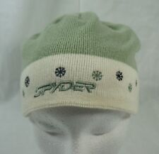 Spyder Ski Winter Knitted Beanie Hat Girls Green White Snowflakes