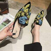 Handmade Casual Loafers Embrodery Mules Vogue Flat Heel Womens Shoes Pointed Toe