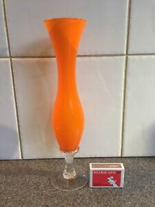 Vintage Retro Orange Cased Art Glass Specimen Vase Clear Barley Twist Stem 25 cm