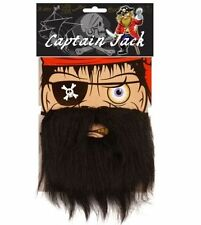 Black Pirate Beard Moustache Captain Jack Caribbean Party Fancy Dress Costume