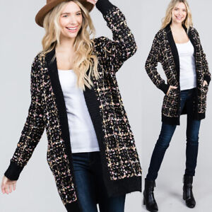 NEW Black Multi Color Confetti Tweed Knit Open Front Long Cardigan with Pockets