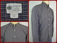 J.CREW Washed Tartan Blue Plaid L/S Btn Front Casual Shirt Mens Lg TAILORED FIT