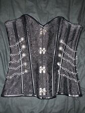 Steampunk Corset - Black Cord Shapewear Brocade With Chains Gothic Goth Lace Up