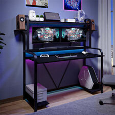 Gaming Desk with Monitor Shelves Computer Writing Desk Workstation Table Home