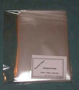 """100 C6 Clear Cello Bags - 6¼"""" x 4½"""" ( 158mm x 118mm ) + flap - 107"""