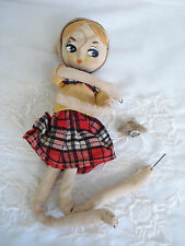 Vintage Fancy Doll Label Big Eye Mt Fuji T.K.R. Japan Poseable Cloth As Is Parts