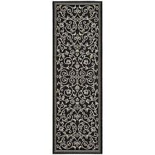 Safavieh Resorts Scrollwork Black/ Sand Indoor/ Outdoor Rug (2'2 x 12')