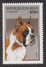 WOW! Dog Art Head Study Portrait Postage Stamp Show BOXER Benin 1997 MNH