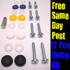 """17 PCE Number Plate Fixing Kit - 1"""" Self Tappers Dome Screw Caps & Driver Bit"""