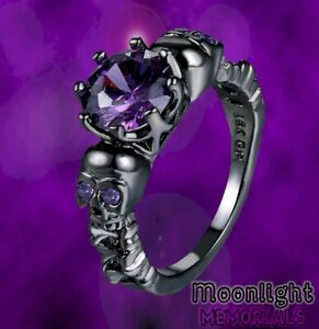 New Skull Purple Black  Antique Victorian Ghost Gothic Mens Womens Punk Ring