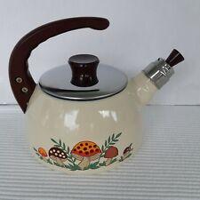 Merry Mushroom Teapot Beige Vintage Japan Enamal Ware Blue Inside Metal
