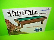 Valley Billiards JAGUAR Original Vintage Pool Table Coin-Op Promo Sales Flyer