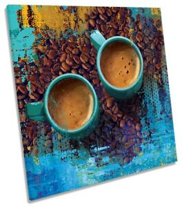 Kitchen Coffee Cups Print CANVAS WALL ART Square Picture Blue