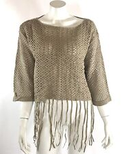 Umgee Sweater Taupe Tan Brown Fringe Bell Sleeve Mesh Open Knit Boho Festival