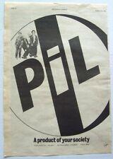 PUBLIC IMAGE LTD PiL 1978 POSTER ADVERT FIRST ISSUE VIRGIN