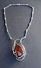 Handmade Sterling Silver Swirl Tubes Linked Necklace with Large Amber Gemstone