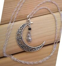Filagree Moon and Athena's Owl Silver Protection Charm Necklace, Pagan Goddess!