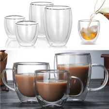 80-350ml Glass Coffee Mug Clear Double Wall Insulated Thermal Tea Cup Drinking