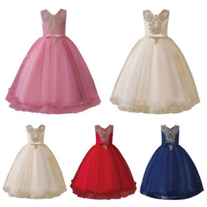Formal Kids Flower Girls Long Dress Wedding Party Pageant Princess Birthday Gown