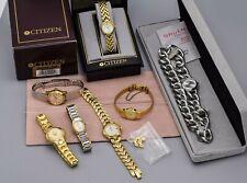 Lot of 7 Vintage Citizen Seiko Gruen Women's Quartz Watches Boxes, Pouch