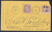 1860s US Cover, SC 65, 2 Town Cancels, Double Rate from Redirect - Vermont+Iowa*