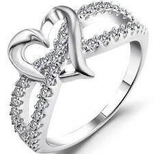 Size 3-12 White Gold Silver Wedding Engagement Ring Split Shank Eternity Heart