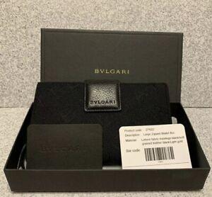 Bvlgari Wallet Black Monogram Fabric W/Leather Trim Wallet Italy NWT In Box