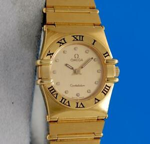 Ladies Omega Constellation 18K Gold plated Watch - Gold Diamond Dial