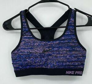 Nike Womens Pro Classic Padded Static Sports Bra Medium Purple Blue Racerback
